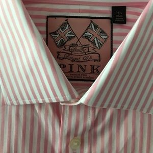 PINK Striped Dress Shirt/French Cuffs/ Slim Fit